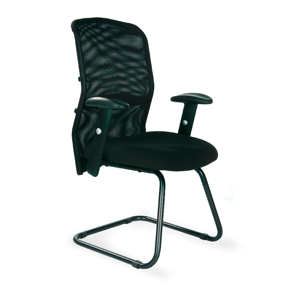 Jupiter High Back, Visitor Chair, Cantilever Frame, Black, Adjustable Armrests